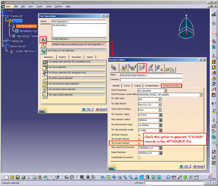 Screen shot for a CATIA part operation panel